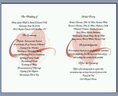 Wedding Program Wording Ideas | Menu templates or ideas - Wedding ...
