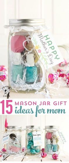 Geschenk Ideen - 15 cute and clever ways to make Mason Jar Gifts for Mom- so cute for Mother's Da. Geschenk Ideen - 15 cute and clever ways to make Mason Jar Gifts for Mom- so cute for Mother's Da. Cute Mothers Day Gifts, Diy Gifts For Mom, Mothers Day Crafts, Easy Gifts, Diy Birthday Presents For Mom, Present For Mom, Mothers Day Ideas, Kids Gifts, Birthday Present For Mother