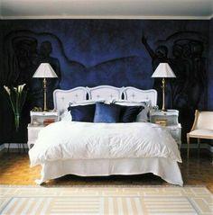 Dark Blue Bedroom Feature wall in Caspian Sea 7294 with Neutral