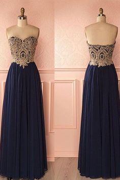 Chiffon prom dress, ball gown, cute lace top blue chiffon long prom dress for teens