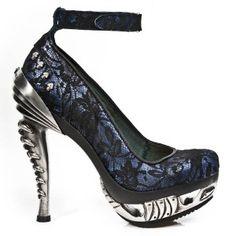 M.MAG001-C7 New Rock Blue Leather & Black Lace Platform Shoes