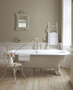 Here are my 9 dream bathroom decorating elements. In a perfect word, my dream bathroom would have every one of these! A chandelier, a clawfoot tub. Little Greene Paint Company, Feminine Bathroom, Modern Bathroom Design, Neutral Bathroom, Bathroom Designs, Bathroom Interior, Bathroom Colours, Simple Bathroom, Cream Bathroom