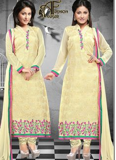 Cream Color Faux Georgette Fabric Suit with Cream color Santoon Fabric Bottom & Cream color Najneen Chiffon Fabric Dupatta. This suit is covered with Pink & Green color floral embroidery patch work at neck line and Cream color floral embroidery work on all over the top with Pink & Green color border work at below. The suit which can be stitched up to size 44.
