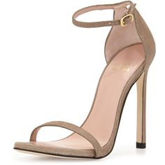 Stuart Weitzman Nudist Goosebump Napa Sandal ($425) ❤ liked on Polyvore featuring shoes, sandals, heels, sapatos, chaussures, fawn, stuart weitzman, buckle sandals, ankle tie shoes and heeled sandals