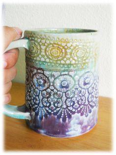 Lace imprint handmade ceramic mug, Stoneware ceramic mug. $23.00, via Etsy.