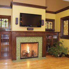 Arts U0026 Crafts Tile Fireplace Showcase   Traditional   Living Room    Minneapolis   Clay Squared To Infinity