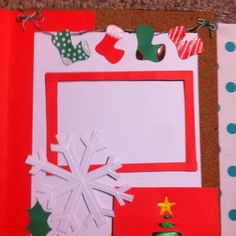 Christmas scrapbook page made out of nothing but red, green, and white paper