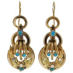 Victorian Turquoise Pearl Gold Dangle Earrings | From a unique collection of vintage dangle earrings at https://www.1stdibs.com/jewelry/earrings/dangle-earrings/