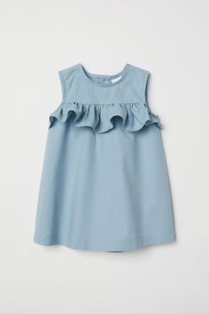 Flounced Cotton Dress - Baby Girl Dress - Ideas of Baby Girl Dress - Flounced Cotton Dress Light turquoise Kids Baby Girl Dress Patterns, Baby Dress Design, Frock Design, Dresses Kids Girl, Baby Dresses, Dress Girl, Peasant Dresses, Children Dress, Children Clothes