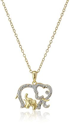 """Gold Plated Silver Open Elephant with Baby Pendant Necklace, 18"""" Amazon Collection http://www.amazon.com/dp/B0083PYKC8/ref=cm_sw_r_pi_dp_3ODjvb01DP6H2"""