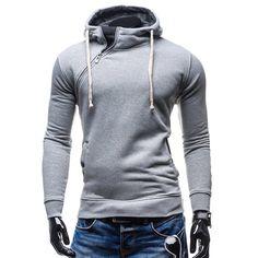 Hooded Inclined Zipper Design Rib Spliced Long Sleeve Men's Hoodie #jewelry, #women, #men, #hats, #watches, #belts, #fashion