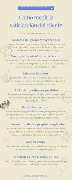 Cómo medir la satisfacción de cliente. #markting #marketingdigital #marketingoffline #marketingonline #socialmediamarketing #estrategia #infografia #empresas #negocios #pymes #fidelizacion