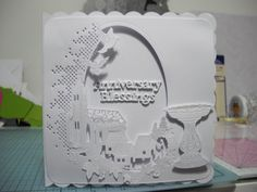 Tattered Lace Village church baptism card with font.