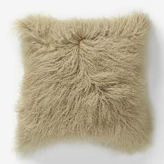 "Mongolian Lamb Pillow Cover - Pebble (16"" Sq.) #westelm SO SOFT!!!!!"