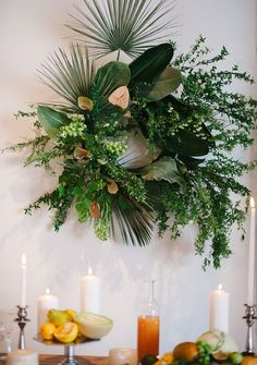 Tropical wreath for a modern white wedding