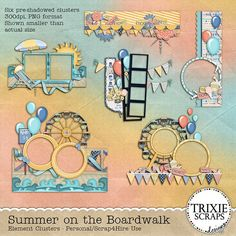 """Summer on the Boardwalk Digital Scrapbooking Clusters - Spend a """"Summer on the Boardwalk"""" and then scrap all the fun pictures you'll take with this new collection from Trixie Scraps Designs. Featuring everything from the giant ferris wheel and amusement rides, to the boardwalk... from salt water taffy to cotton candy... and from the sun to the waves, this collection has everything you need to create beautiful scrapbook pages of your time """"Down the Shore."""""""