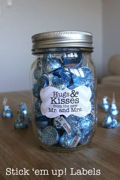 Hugs and Kisses from the Mr and Mrs Custom Mason Jar Favor Labels Wedding Bridal Shower Stickers