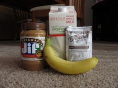 Easy protein shake: 2 Tbsp of peanut butter, 8 oz of milk (I like Almond Milk), 1 Carnation Breakfast Essentials packet (Milk Chocolate), 1 banana.  Blend until smooth and enjoy!  Try frozen banana slices for a frozen smoothie version.