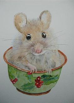 """Christmas Mouse"" by Canadian artist Betty Mulligan who specializes in fairies, little animals, and children's illustrations. Watercolor Animals, Watercolor Cards, Watercolor Paintings, Watercolours, Illustrations, Illustration Art, Mouse Paint, Cute Mouse, Christmas Paintings"