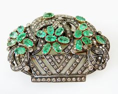 A Basket of Posies for Mom?  #Emerald #Diamond #Brooch
