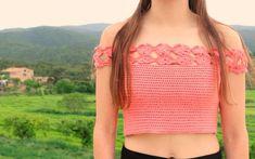 crochet top flowers off shoulders free pattern with video tutorial