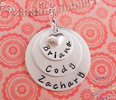 Gift for moms:  Personalized sterling silver necklace