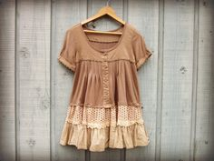 Med. Khaki Upcycled Peasant Top// emmevielle by emmevielle on Etsy, $63.00