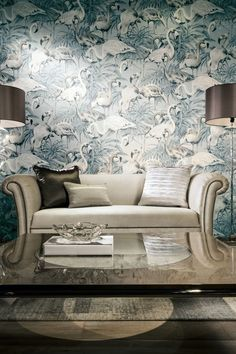 Angelic white and delicate bronze flamingos wading peacefully in soft pale blue-coloured shallow waters. Magnificently printed on a faux-grasscloth texture wallpaper. Flamingo Wallpaper, Vinyl Wallpaper, Print Wallpaper, Textured Wallpaper, Mermaid Wallpapers, Blue Wallpapers, Big Design, Sofa Design, Arte Wallcovering