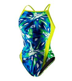 Speedo Remix Super One Piece- Funky fabric spliced with hot neon makes the Speedo Remix Superback One Piece a training suit that's sure to motivate. (www.swimoutlet.co...)
