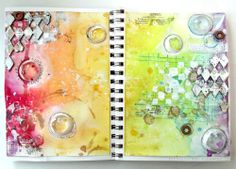 by DeeDee Catron: Double page spread {Art Journal} using #rubberstamps from vlvstamps.com