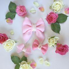 "#forloveandlattes ""Penny"" set of girls felt hair bows"