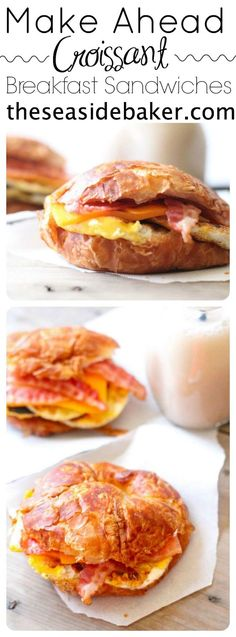 Freezer Breakfast Croissant Sandwiches are the best Make-Ahead meal for busy mornings. By /the/ Freezer Breakfast Croissant Sandwiches are the best Make-Ahead meal for busy mornings. Croissant Sandwich, Make Ahead Breakfast Sandwich, Breakfast Croissant, Breakfast Pizza, Breakfast Burritos, Breakfast Bowls, Frozen Breakfast, Best Breakfast, Breakfast Healthy