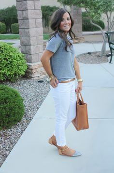 White Skinny Jeans, Relaxed Grey Tee, Flats