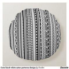 Cute black white aztec patterns design round pillow Soft Pillows, Throw Pillows, Aztec Patterns, Round Pillow, Soft Fabrics, Pattern Design, Vibrant Colors, Monogram, Black And White