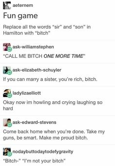 Pardon me,are you Aaron burr, bitch? That Depends who's asking. I'm alexander Hamilton I'm at your service Bitch Dear Evan Hansen, Fandoms, Satire, Hamilton Lin Manuel Miranda, Aaron Burr, Hamilton Musical, Out Of Touch, Oui Oui, Founding Fathers