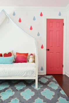 Raindrops & Rose Paint in Clara's bedroom for @Sherry @ Young House Love. What a creative idea for wall decor!