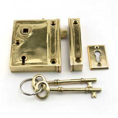 Vertical Rim Lock Set with Porcelain Knobs - Door Handles and Locksets - Hardware