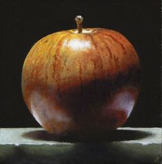 Jeffrey Hayes: Red Apple No. Apple Painting, Food Painting, Still Life Artists, Hyperrealism, Photorealism, Red Apple, Apple Art, Chiaroscuro, Fruit Art