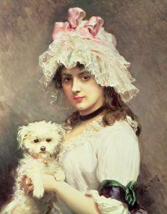 Girl with a lap dog - Raimundo de Madrazo Y Garreta (spanish painter)