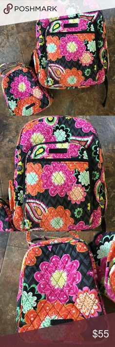 """Vera Bradley Ziggy Zinnia Backpack & Lunch Tote Perfect for B2S Back to School!!! Vera Bradley Ziggy Zinnia Campus Backpack & Insulated Lunch Tote Set. Both have been lovingly used. The backpack has some slight wearing and the inside has some fraying at Zippered section. Measures approximately 17"""" Tall X 12.75 X 7.5"""" With 4"""" Handle & 32"""" Padded Straps. Both smoke free home. Ready for school :) Vera Bradley Bags Backpacks"""