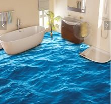 3 d pvc flooring custom waterproof wall paper The surface wave 3d bathroom flooring picture mural photo wallpaper for walls 3d(China (Mainland))