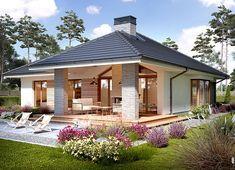 Projekt domu Piwonia 119,50 m² - koszt budowy - EXTRADOM Modern Bungalow House, Bungalow House Plans, Modern House Plans, Small House Plans, Modern Bungalow Exterior, Beautiful House Plans, Beautiful Homes, Small House Design, Modern House Design