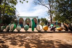 Giant fruit and veg at Phnom Hanchey in Kampong Cham, Cambodia