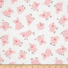 Barnyard Buddies Pudgy Pigs  Fabric by the Yard by TheFabricFox, $9.25