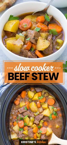 Easy Slow Cooker Beef Stew, filled with tender meat and vegetables. This classic beef stew recipe is perfect for a weeknight or Sunday dinner. One of the best crock pot recipes! #beefstew #slowcookerbeefstew #crockpot Beef Stew Crockpot Easy, Slow Cooker Beef, Crock Pot Stew, Easy Healthy Crockpot Recipes, Vegetable Crockpot Recipes, Weeknight Recipes, Stew Meat Recipes, Easy Stew Recipes, Freezer Recipes