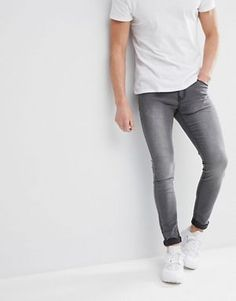 Browse online for the newest Liquor N Poker gray super skinny jeans styles. Shop easier with ASOS' multiple payments and return options (Ts&Cs apply). Tight Jeans Men, Grey Jeans Men, Superenge Jeans, Grey Skinny Jeans Outfit, Skinny Jeans Style, Super Skinny Jeans, Jean Slim Gris, Spray On Jeans, Skinny Suits
