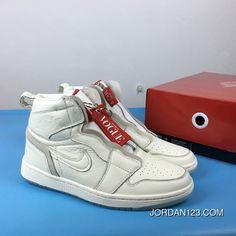 detailed look 29bc8 b88d1 Air Jordan 1 White Red High Zipper Full Grain Leather 1 Retro High Zip Awok  Vogue Bq0864-106 Copuon