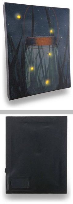 DIY Inspiration :: Flickering Jar of Fireflies ~ lighted LED canvas wall hanging. Canvas is stretched over a wood frame backed with vinyl to safely house the wires, while providing access to the battery compartment. Requires 2 AA b Diy Canvas Art, Wall Canvas, Wall Art, Canvas Ideas, Diy Painting, Painting & Drawing, Painting Canvas, Firefly Painting, Wine And Canvas