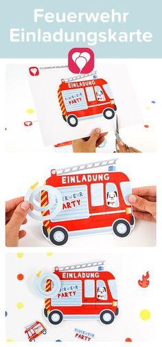 🚒 TATÄTATA! Der Feuerwehr Geburtstag steht vor der Tür?  Dann haben wir eine coole Vorlage für Dich zum Basteln einer Feuerwehr Einladungskarte. Jetzt kann der Kindergeburtstag kommen!   Viel Spaß beim Basteln, Dein balloonas Team   #feuerwehrgeburtstag #kindergeburtstag #einladungskarte #basteln #DIYEinladung #Printable #Vorlage #FeuerwehrEinladung