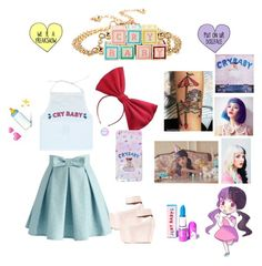 """Melanie Martinez Inspired Set!!!"" by berrypoplife ❤ liked on Polyvore featuring Chicwish, Jeffrey Campbell and Lime Crime"